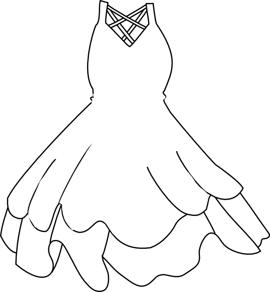 Wedding Gown Clip Art: Black And White Wedding Dress Clipart