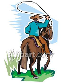 Western Horse Riding Clipart Cowboy Riding a...