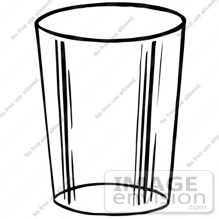 Glass of water black and white clipart