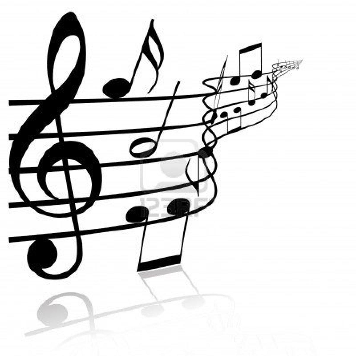 White music notes on black background