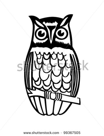 Owl On Branch - Retro Clipart | Clipart Panda - Free ...