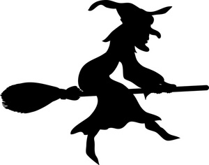 witch-clip-art-an old hag wicked witch flies on her broomstick in the    Witch On Broom Clip Art