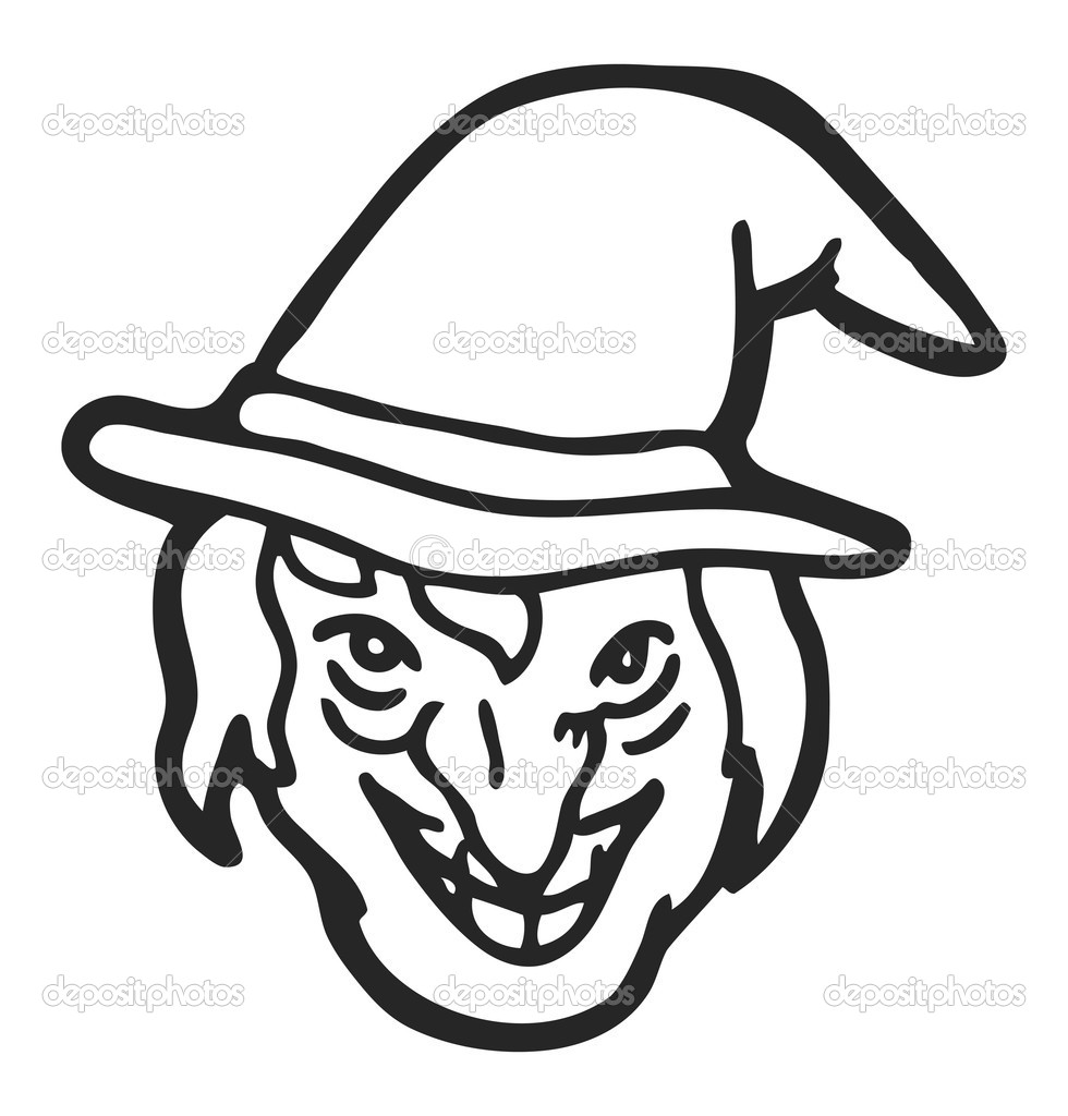 Line Drawing Of Witches Face : Witch face clipart panda free images
