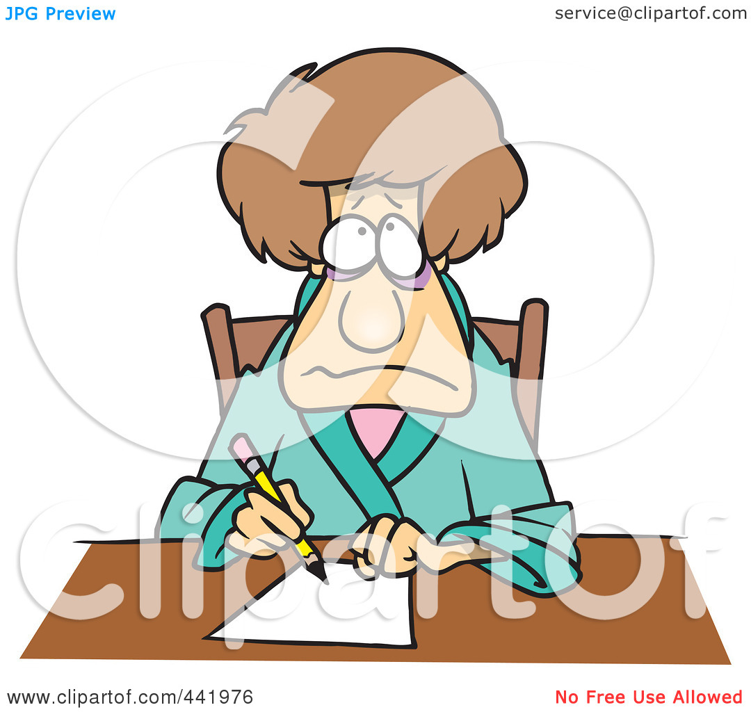 woman writing a letter clipart