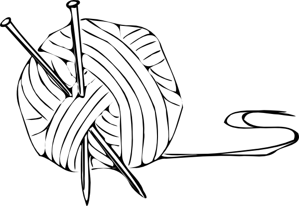 Knitting Needles Clip Art : Yarn clipart black and white panda free
