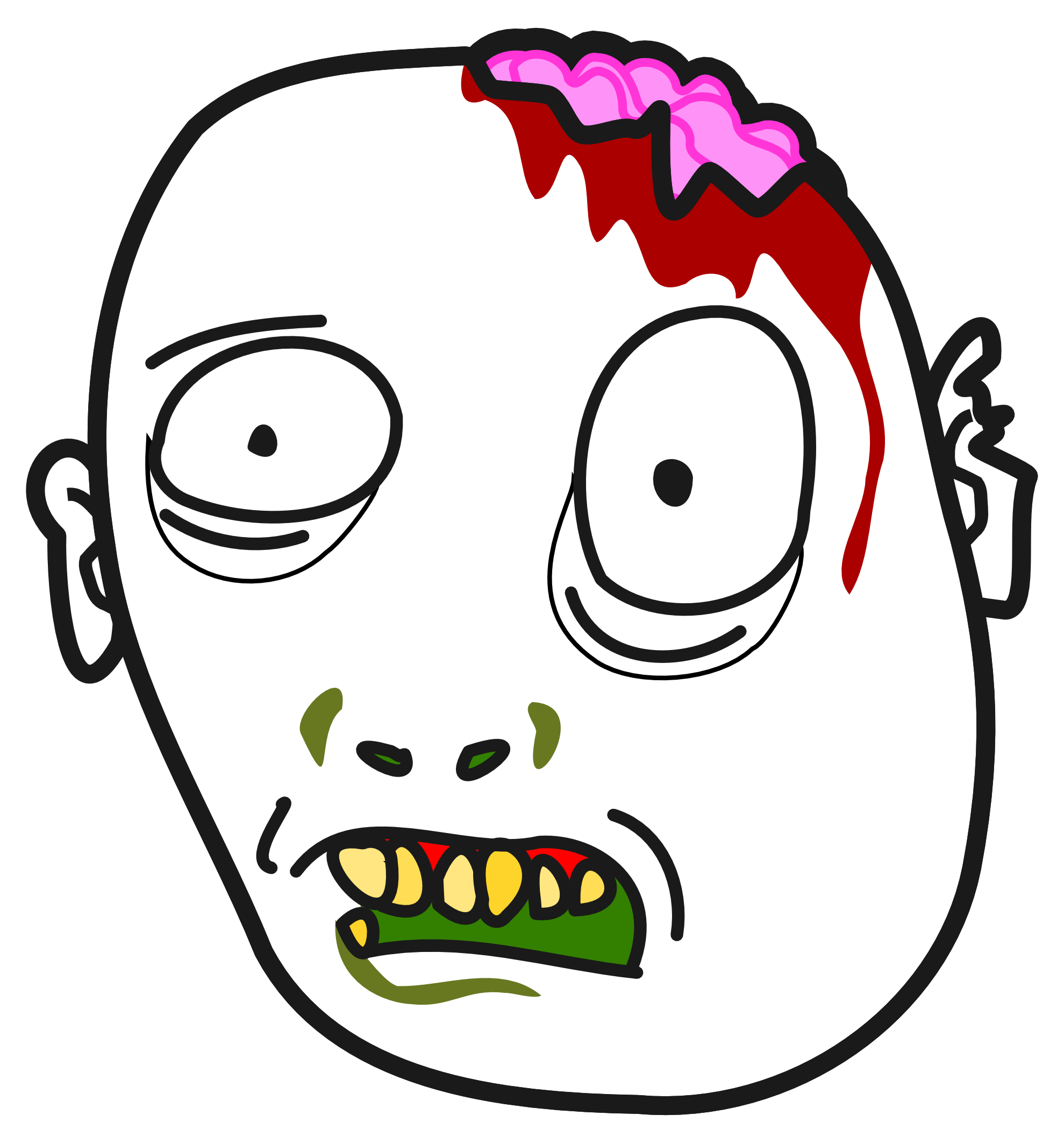 Zombie Face Line Drawing : Zombie clipart panda free images